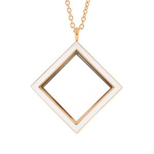 Picture of Gold Diamond Locket with White Enamel